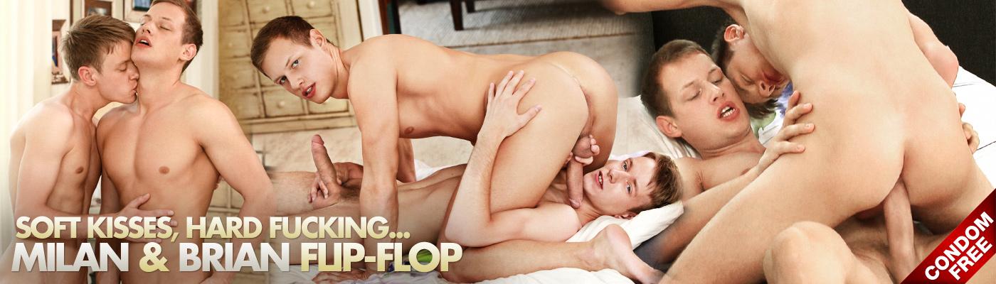 Soft kisses, hard fucking... Milan and Brian flip-flop